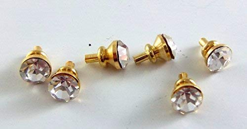 (Dollhouse Miniature Door Drawer Furniture 6 Crystal and Brass Handles Knobs)