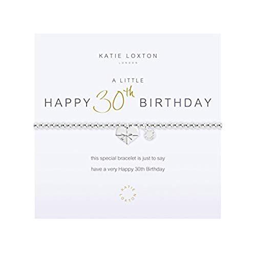 Katie Loxton A Little Happy 30th Birthday Silver Women's Stretch Adjustable Charm Bangle Bracelet