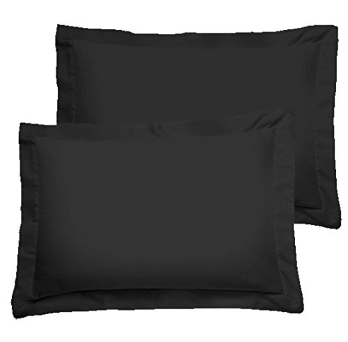 American Pillowcase Luxury Egyptian Cotton 300 Thread Count 2-Piece Pillow Sham Set 21 x 26 Inch- Standard, Black Black Standard Sham