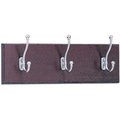 Safco Products 4216MH Wood Wall Rack, 3 Hook, Mahogany/Silver