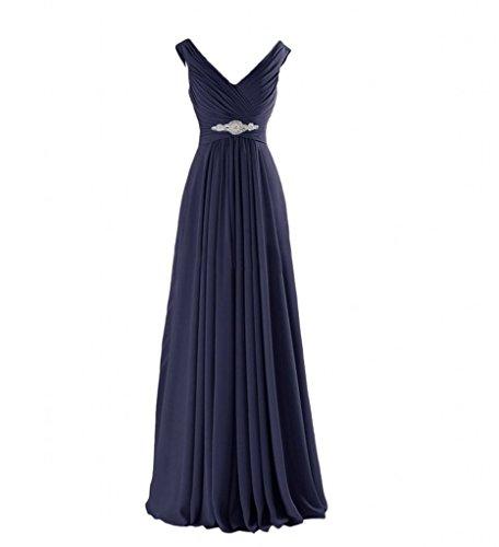 Abschlussballkleider Navy Marie Brautjungfernkleider La Abendkleider Chiffon V Ausschnitt Blau Elegant Braut Partykleider cgvw7SHq8v