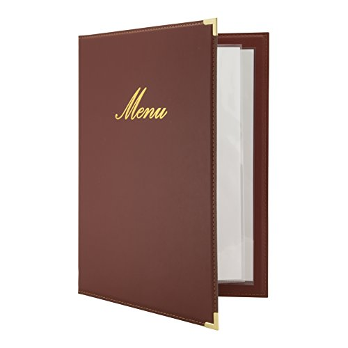 Securit Leather Style Classic Menu Card Holder 10 Pack ()