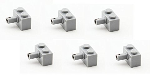 Lego-Parts-Brick-Modified-1-x-2-with-Pin-PACK-of-6-LBGray