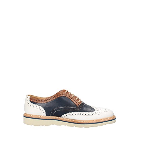 Blanco mujer de Zapatos Calpierre cordones Piel Azul para de CFg6wq