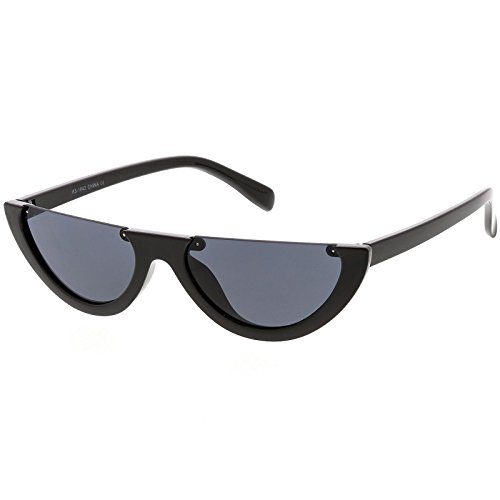 sunglassLA - Extreme Semi Rimless Cat Eye Sunglasses Neutral Colored Lens 55mm (Black / - Cat Sunglasses Eye Extreme