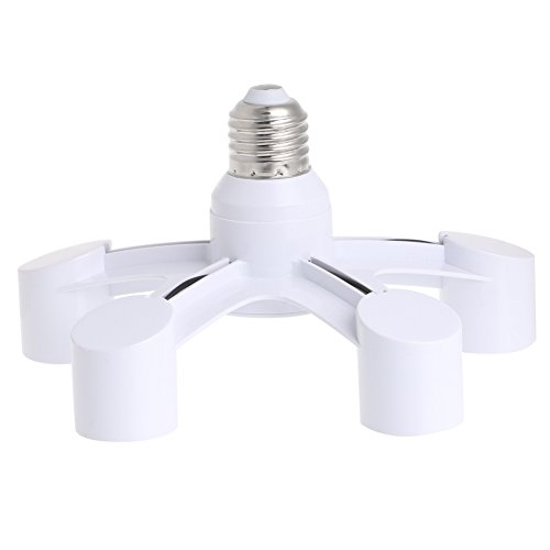 Price comparison product image LIYUDL 5 In 1 E27 To 5 E27 Base Socket Splitter LED Light Lamp Bulb Adapter Holder
