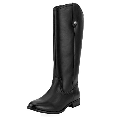 - SheSole Women's Fashion Genuine Leather Knee High Riding Boot Wide Calf Button Black US Size 11