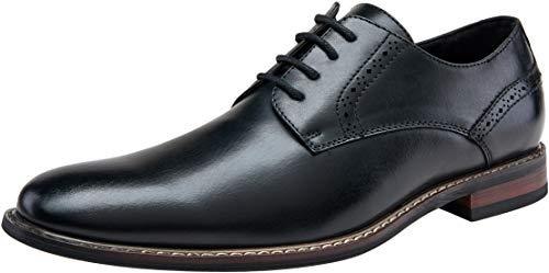JOUSEN Men's Oxford Plain Toe Brogue Formal Dress Shoes (10,Black)