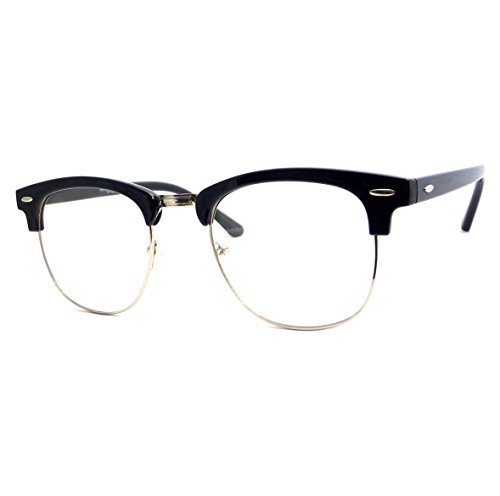 Unisex Clubmaster Oval Stylish Celebrity High Fashion Clear Lens Glasses in - Clubmaster Celebrities