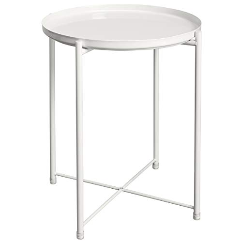 HollyHOME Tray Metal End Table, Sofa Table Small Round Side Tables, Anti-Rust and Waterproof Outdoor & Indoor Snack Table, Accent Coffee Table,(H) 20.28