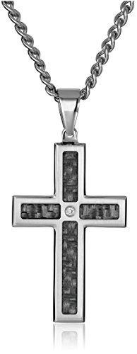 Men's Stainless Steel and Carbon Fiber Cross with Diamond Accent Pendant Necklace (.02 cttw), 24