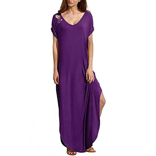 Women's Maxi Dress,Summer V Neck Pockets Split Beach Long Dress Changeshopping Purple