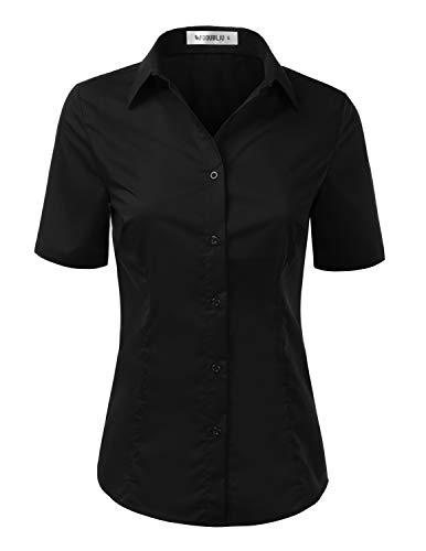 (Doublju Womens Slim Fit Plain Classic Short Sleeve Button Down Collar Shirt Blouse Black Medium)