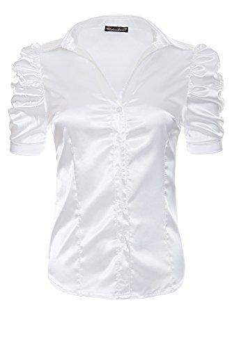 manches Blanc pour l neuf col dreams m xXL satin Laeticia chemisier en tailles femme blanc courtes chemise avec xS xL s qHtPn0w1