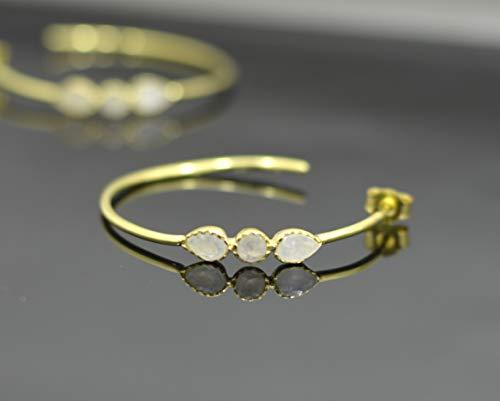 Delicate Rainbow Moonstone Earrings Gold, Three White Gemstone Vermeil, Minimalist Hoop, Dainty Bridal, Bridesmaid Hoop, Small Stone, Boho