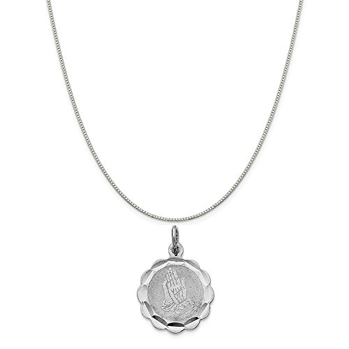 Mireval Sterling Silver Praying Hands Disc Charm on a Sterling Silver Carded Box Chain Necklace, 18