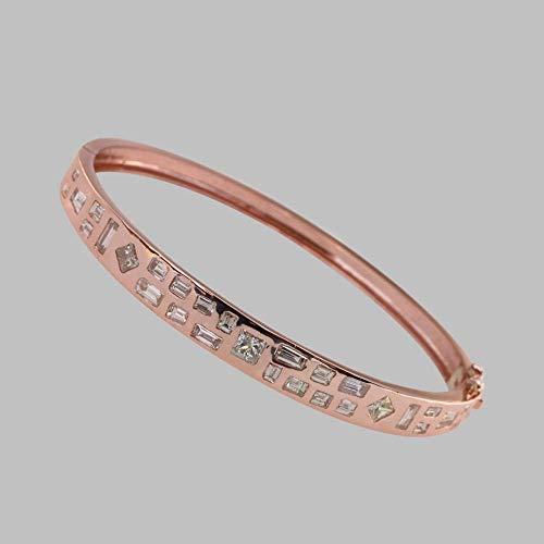 Baguette Bangle Diamond Bracelet (Natural 2.71 Ct. Baguette & Princess Shape Diamond Bangle Bracelet Solid 14k Rose Gold Handmade Fine Bridal Jewelry)