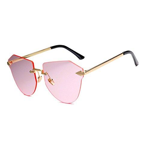 Irregular Gafas Moda Sin Casual Grandes Gafas Sol De Ciclismo CX De GUOHONG Brown Marco Teñido Gafas Océano De Recorte Colorido De del Pink Sol Gafas De ZwTqw5F