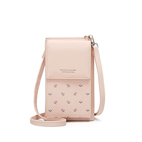 Kingto Small Leather Crossbody Cell Phone Shoulder Bag for Women, Smartphone Wallet Purse with Removable Shoulder Strip for Shopping (A-pink)