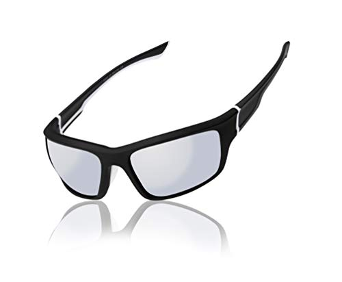 White Frame Silver Mirror Lenses - Men Women wrap Black and White Frame With Silver Mirror Lens