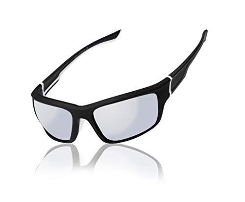 White Frame Silver Mirror Lenses - Men Women wrap Black and White Frame With Silver Mirror Lens