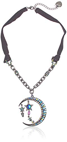 Betsey Johnson (GBG) Betsey's Dark Magic Moon Pendant Necklace, Black, One Size ()