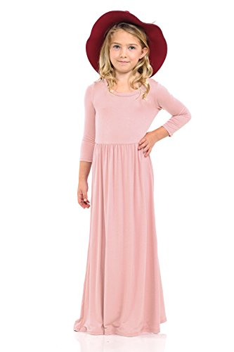 (Pastel by Vivienne Honey Vanilla Girls' Fit and Flare Maxi Dress Medium 7-8 Years Dusty)