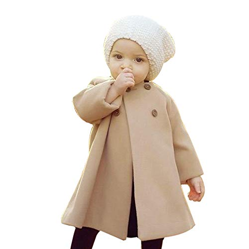 iYBUIA Autumn Winter Girls Kids Baby Solid Outwear Cloak Button Jacket Warm Coat Clothes(Khaki,110) ()