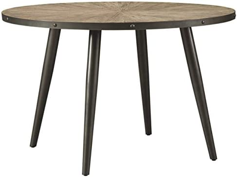 Signature Design By Ashley – Coverty Round Dining Room Table – Casual Style – Light Brown