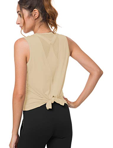 Mesh Back Performance Gym - Bamans Women's Yoga Workout Mesh Shirts Activewear Running Sports Gym Tops Summer Yoga Clothes High Performance Training Exercise Tops Apricot X-Large