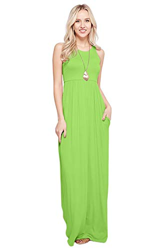 Maxi Dresses for Women Solid Lightweight Long Racerback Sleeveless W/Pocket -Lime (Small)