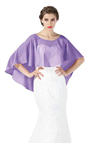 Bridal Capelet Chiffon Cape Shawls High-Low Short Tops For Women Wedding Dresses Lilac