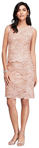 Mock Two-Piece Sequined Lace Mother of Bride/Groom Dress Style 117301D