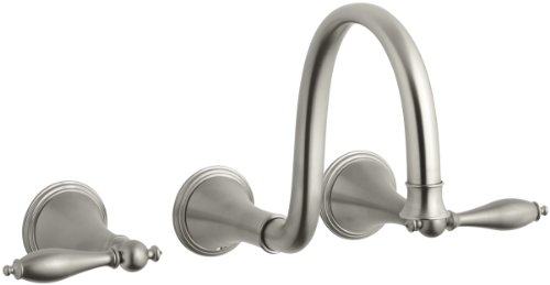 KOHLER K-T343-4M-BN Finial Traditional Wall-Mount Lavatory Faucet with Lever Handles, Vibrant Brushed Nickel