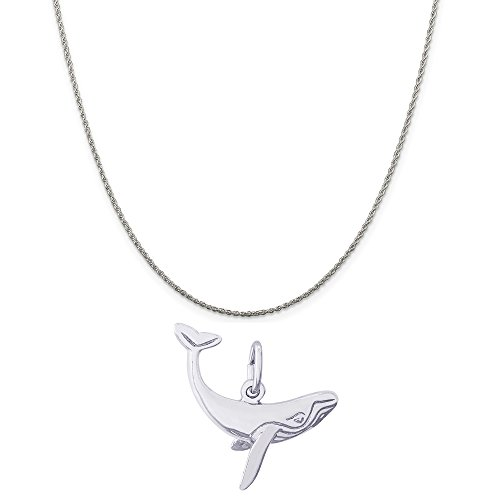 Rembrandt Charms 14K White Gold Humpback Whale Charm on a 14K White Gold Rope Chain Necklace, 16