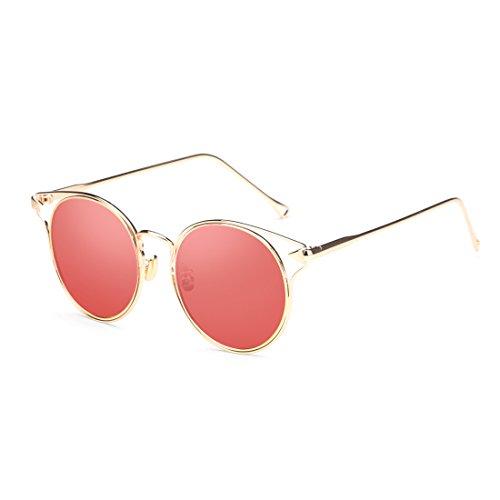 sol Fashion solar UV protección de polarizadas de Rojo de Retro protección gafas Gafas Lady Color Pink circular ZHIRONG transparentes color personalidad SExqZnY