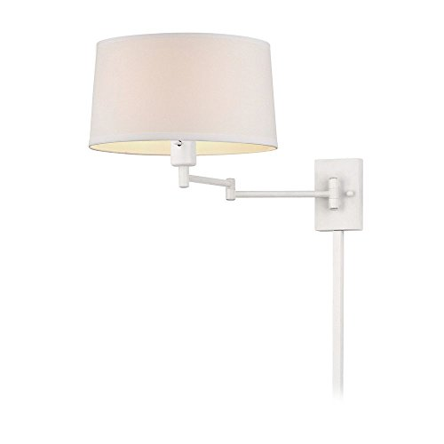 White Swing-Arm Wall Lamp with Drum Shade and Cord Cover