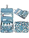 Portable Hanging Toiletry Bag,Organizer Cosmetic Bag with Hanging Hook Cherioll® for vacation (One size, Blue Daisy)