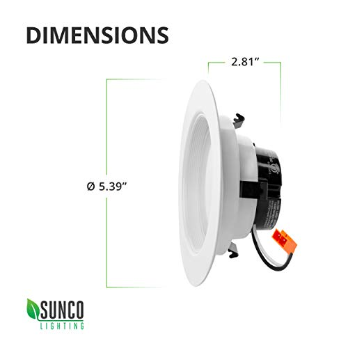 Sunco Lighting 6 Pack 4 Inch LED Recessed Downlight, Baffle Trim, Dimmable, 11W=40W, 3000K Warm White, 660 LM, Damp Rated, Simple Retrofit Installation - UL + Energy Star by Sunco Lighting (Image #9)