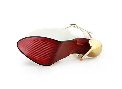 sexy Herbst Mund Fesselriemen Neues Dressy Prom Damen Schwarz Sommer weiß Heel Stiletto High PU Fisch Schuhe Künstliche rot Frühling Wasserdicht Sandalen Nachtclub 4x5zASqazw