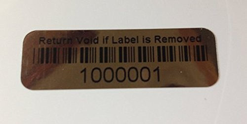 2,000 Tamper Evident Foil Security Labels Sticker Seals Numbered Bar Code, Rectangle 1.5'' x .5'' (38mm x 13mm). by intertronix (Image #1)