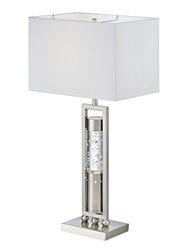 Homelegance Satin Nickel Metal Finish Table lamp with Sparkling Decorative Drop Dancing Water Mood, Night Light, top