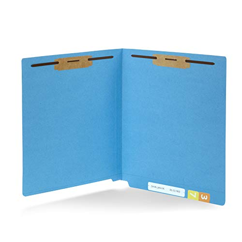 (50 Blue End Tab Fastener File Folders - Reinforced Straight Cut Tab - Durable 2 Prongs Designed to Organize Standard Medical Files, Receipts, Office Reports - Letter Size, Blue, 50 Pack )