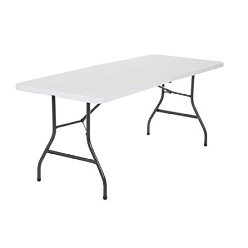 SKM Deluxe 6ft Fold-in-Half Blow Molded Folding Table Fold-in-Half Portable Plastic Picnic Party Dining Camp Table (White)