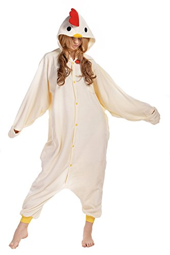 Newcosplay Unisex Adult White Chicken Cosplay Pajamas Halloween Anime Costume (XL) (Chicken Costumes For Adults)