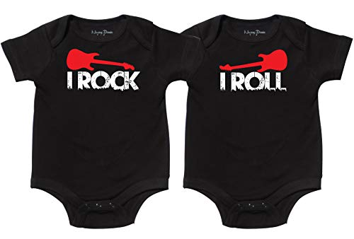 Nursery Decals and More Little Boy Twins Onesies, Includes 2 Bodysuits, 0-3 Month Rock -