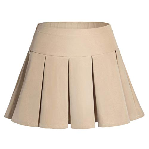 (Gaziar Girls' Uniform Skirt Pleated School Skort with Elastic Waistband Khaki)
