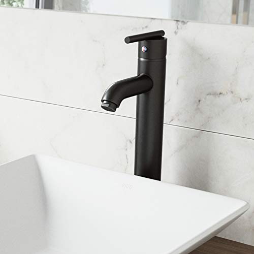 VIGO VG03009MB Seville Solid Brass Single Handle Vessel Basin Faucet, Single Hole Install, Premium 7-Layer Plated Matte Black Finish