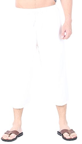 Linen Capri Set - CandyHusky Men's Elastic Waist Cotton Loose Comfort Casual Lounge Capri Pants (3XL/4XL, White)