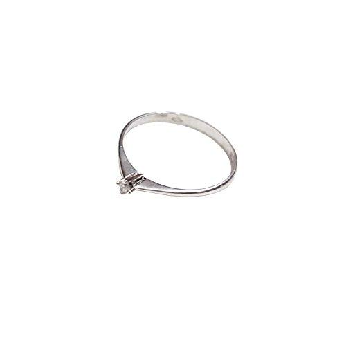 Bague Femme Solitaire Fiançailles Or Blanc 18Cts 750/000-Diamant 0,03cts F VVS certificat